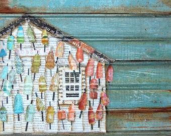 ART PRINT or CANVAS Lobster Shack Maine beach shack coastal poster wall home decor painting summer gift coastal rainbow collage, All sizes