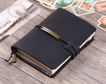 Refillable Leather Traveler's Notebook - Handcrafted Leather Journals | Standard Size | Passport Size - Vintage | Travel Journal | Diary |