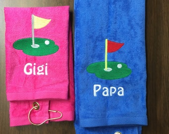 Personalized Golf towel, golf towel, golf gift, monogram towel, embroidered towel, father day, 3 - 5 business days turn around