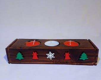 3 piece Christmas tea candle holder