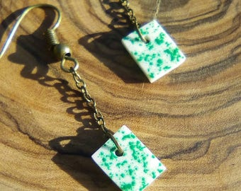 Green and white earrings with dangling bone and square/made-hand/bronze/chain/gifts for women