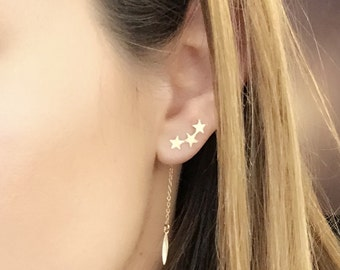 3 in 1 ! Gold star ear climbers with chain drop and charm. Stud Gift Unique Minimalist Twinkle Twilight Love Dainty Everyday Versatile