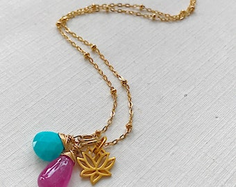 Lotus Necklace with Turquoise and Pink Sapphire
