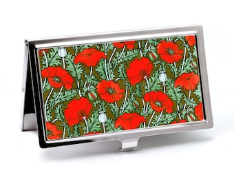 Red Poppy Business Card Case, Credit Card Holder - Art Nouveau Card Wallet -  ID Card Holder or Metal Wallet - Gift for Art Lovers