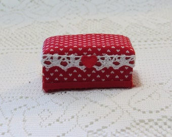 Red and White Tiny Heart Dollhouse Ottoman