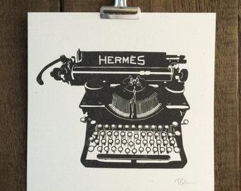 Antique Hermes Typewriter 10x10 Art Print