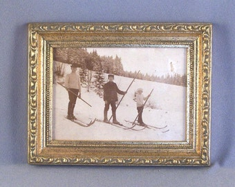 SALE Early 1900's Framed Sepia Photograph // 3 Boys Cross Country Skiing in Europe // Nostalgia // Memories // Re-purpose //