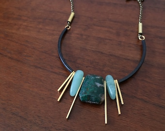 CIVAL Collective - Eva | Turquoise Pendant Necklace | CIVAL Jewelry Designs | Semi Circle Necklace | Statement Necklace