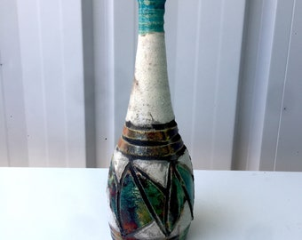Turquoise, White,  Gold, Copper, Grey Raku Vase