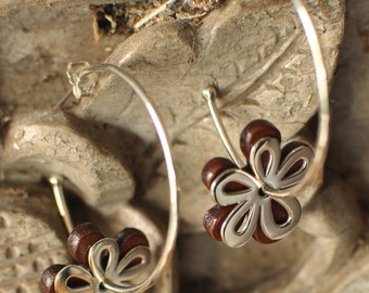 DAISY HOOPS sterling silver brown leather, daisy silver & leather flowers, leather earrings, handmade