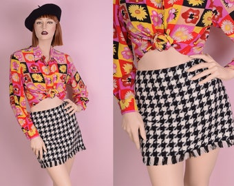 90s Black and White Houndstooth Tweed Skirt/ US 8/ 1990s