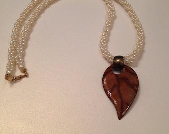 Faux Pearl Necklace Twisted Three Strand Enamel Leaf Pendant