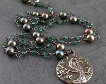 Silver peacock necklace, handmade green apatite, pearl necklace-eco friendly OOAK