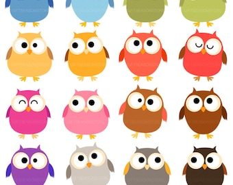 Chubby owl Digital clip art for Personal and Commercial use - INSTANT DOWNLOAD