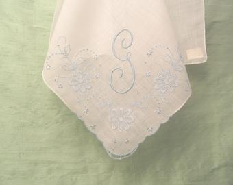 Monogram G blue embroidered handkerchief / unused Franshaw Madeira vintage hankie / letter G, initial G