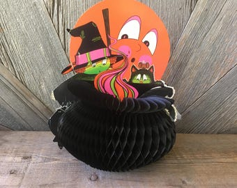 Vintage Halloween Paper Die Cut Decoration {Pretty Witch and 3D Black Cauldron} The Beistle Company {Honeycomb- Folds Flat!}
