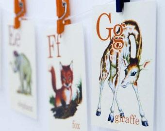 Wild Animal ABC Alphabet Vintage Style Flash Cards, Deer, Woodland, Elephant, Fox, Giraffe
