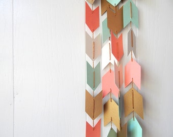 Arrow Garland in Mint Salmon Sand and Gold