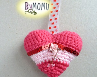 Keychain Crochet HEART-Pink with Rose