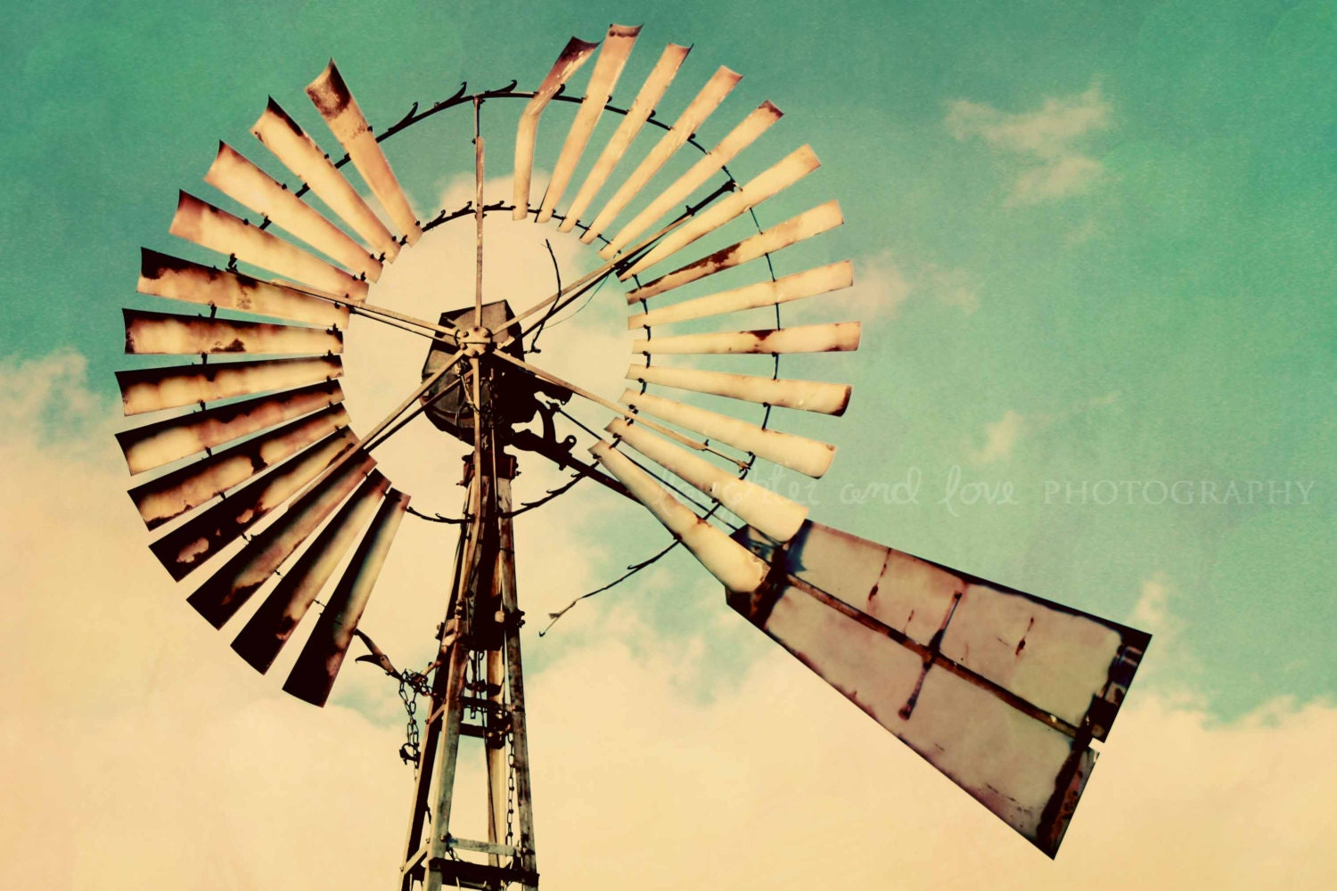 Vintage Windmill Photo Gallery Wrapped Canvas Rustic