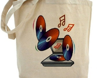 Retro Turntable Tote - Cotton Canvas Tote Bag - Gift Bags