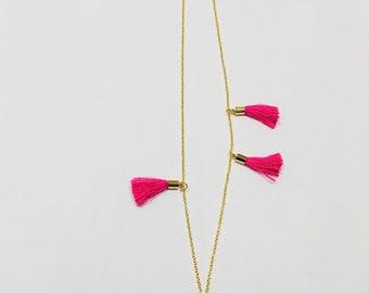 Tassel Gold Statement Necklace In Pink