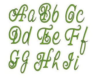 Machine Embroidery Font - Instant Download - Bohemian Font Script (Upper Case & Lower Case) 1,2,3,4 inches