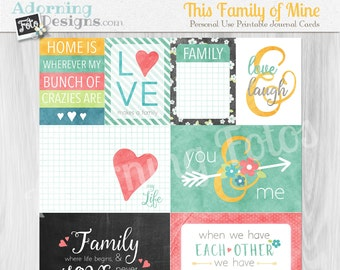 This Family of Mine Printable Digital Journaling Cards, Project Life Family Everyday Printable word art cards