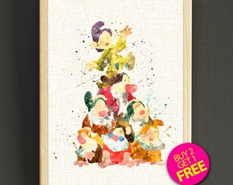 Disney Poster, Seven Dwarfs Print, Princess Snow White Watercolor Art, Watercolor Painting, Nursery Wall Art, Kids Room Decor, Gift -484