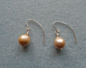 925 Sterling Silver Champagne Gold Nucleated Pearl Earrings