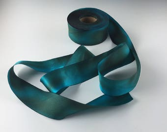 "1.5"" HAND PAINTED  TEAL Green Silk Satin Ribbon Hanah Silks Copper Patina by the yard"