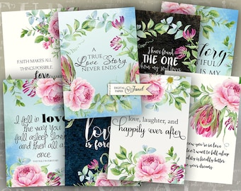 Wedding Quote Cards - digital collage sheet - set of 8 - Printable Download - Watercolor Flower