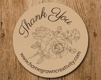 Customized Stickers - Black White Roses Thank You - Labels - Wedding - Birthday Party - Thank You Stickers