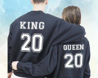 King Queen Sweats, Couple Sweatshirts, gift for couples, funny sweatshirt, custom sweatshirt, anniversary gift, Boyfriend Girlfriend