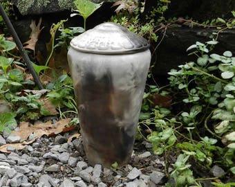 Smoke Fired Half Sized Urn or Decorator Jar with Leaf Imprint