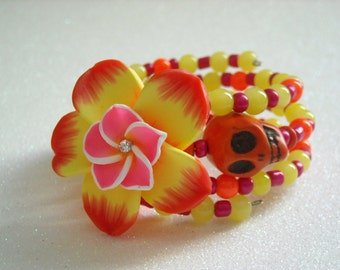 Day of the Dead Orange Skull, Polymer Clay Flower, with Orange, Pink, and Yellow Beaded Memory Wire Bracelet