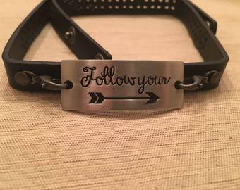 Inspirational wrap leather bracelet
