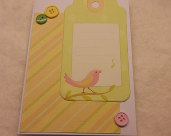 Baby Girl 14 Singing Bird Pastel Baby Card