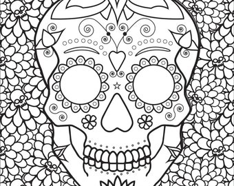 Adult Coloring Book Page: SWEET DEATH (Sugar Skull)