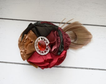 Handcrafted Fall Peacock Hair Clip - Red Burgundy Olive Green Gold Tan - Autumn Bows - Peacock Feather Fascinator - Vintage Flapper Girl Bow
