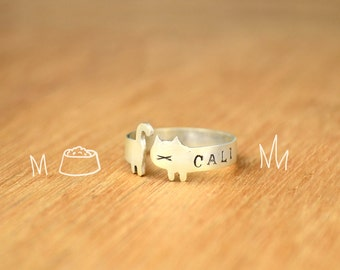 Cat Ring Name Stamped- Sterling Silver - Cat lover gift -lovely cat