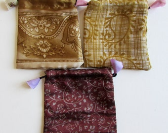 Gift Bags, Jewellery Pouch, Drawstring Pouch, Coin Purse Handmade, Mala Pouches Set E - 3 Giftbags