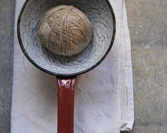 a vintage french enamel ware sieve, brown, grey, chippy enamel, french kitchen, granite ware