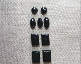 Black Colorado Oil Stone Cabochons/ Rectangles/ Ovals/ Circles/ Set of 9/ backed