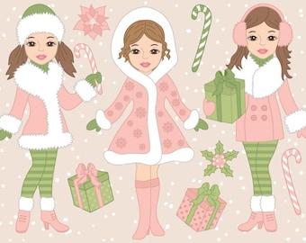 Christmas Girls Clipart - Digital Vector, Xmas, Winter, Merry Christmas Girl Clip Art