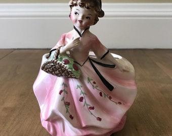 Vintage 1950s Pink Lady With Basket Vase Planter