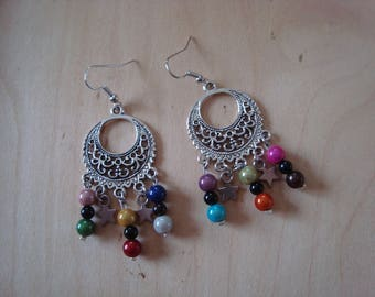 Original and dangling earrings multicolor