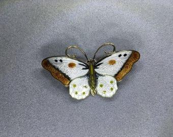 OBO - Hroar Prydz Norway Enamel Sterling Silver Butterfly Brooch Pin