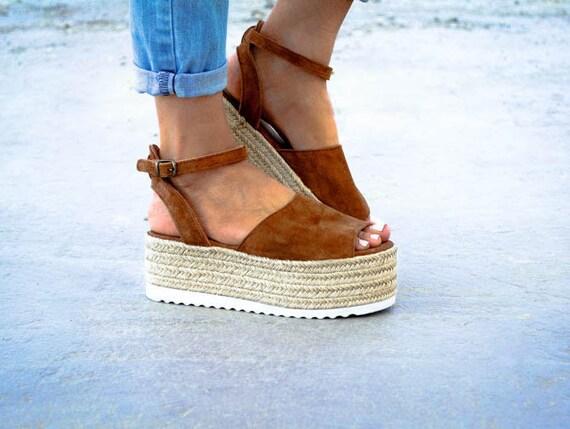 Suede Espadrille Flatform Sandals  , Genuine Leather Sandals, Greek Sandals,  Flatform Sandals, Suede Sandals,Espadrille Wedge by Etsy