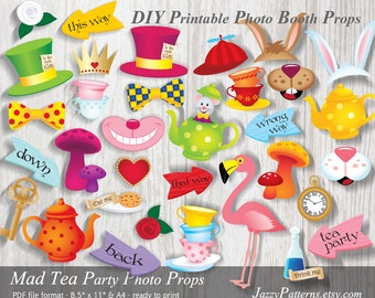 DIY Mad Tea Party printable photo booth props, Alice Adventures In Wonderland party decoration, party camera props PP005 instant download